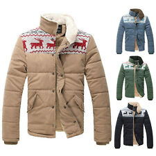 XMAS GIFT For Fashion Mens Snowflake Reindeer Cotton Padded Coat Quilted Jacket