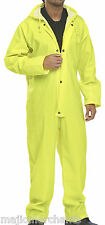 All In One Waterproof Rainsuit Coverall Yellow Mens Workwear Wet Weather Boiler