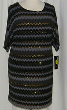 NWT Split Sleeve Black & Gold Dress Signature by Robbie Bee