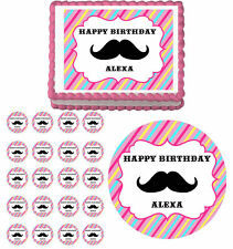 Mustache Bash Girls Pink Edible Birthday Cake Cupcake Toppers Party Decoration