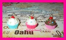 3D CupCake Red Velvet Chocolate Candy Cherry top Silver Plated Necklace USA MADE