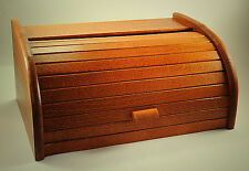 NEW LARGE  WOODEN CLASSIC ROLL TOP BREAD BIN STORAGE CONTAINER Quality Product