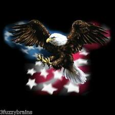 American Patriotic Eagle In Flight USA Flag Oversized  Graphic Black T Shirt