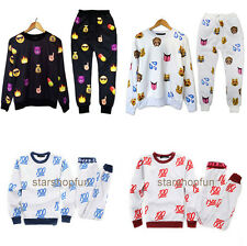 Mens Womens 3D EMOJI funny print jogger Pant Sweatpant Top Sweater Pullover Suit