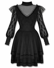 Spin Doctor Nevermore Dress Long Sleeve Black Steampunk Goth Alternative Lace