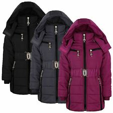 GIRLS PADDED WINTER JACKET KIDS QUILTED COAT DETACH HOOD FUR LINED 3-14 YEARS