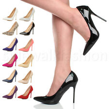 WOMENS LADIES POINTED HIGH HEEL CONTRAST SMART WORK PARTY COURT SHOES PUMPS SIZE