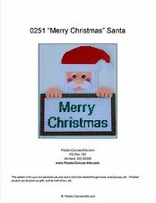 """""""Merry Christmas"""" Santa Wall Hanging-Plastic Canvas Pattern or Kit"""