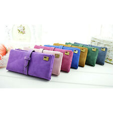 Fashion Lady Scrub Retro Purse Card Holder Hit Color Clutch Wallet Bag Trendy