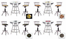 "FC130 3 PC SPORTS THEMED WHITE BAR TABLE SET W/ 2 24""-29"" ADJUSTABLE BAR STOOLS"