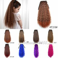 Girls Tie Up Clip In Long Corn Hot Curly Wavy Hair Extension Ponytail Hairpiece