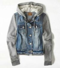 NEW American Eagle Outfitters Denim Vested Hoodie Jacket - S, M