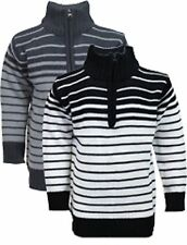 Boys Striped Knitted Jumper with Half Zip and Ribbed Hem Detail, vintage eight 8