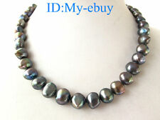 Black Blue Rainbow Nugget Baroque Freshwater Pearl Necklace  16""