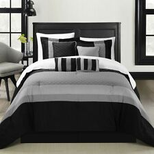 Diamante Black 12 Piece Comforter Bed In A Bag Set With Sheet Set