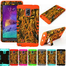 Straw Grass Camo Rugged Kickstand Impact Cover Case for Samsung Galaxy Note 4