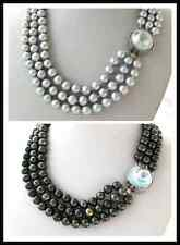 3 Strands Black Peacock Round Freshwater Pearl Necklace Mabe Blister Pearl Clasp