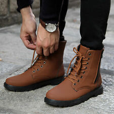 Mens Retro Combat England-style Casual shoes Punk Combat Winter Short boots