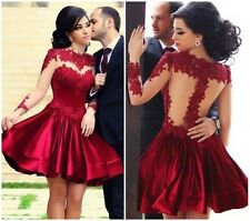 Sexy Crocheted Lace See Thru Fit Flare Velvet Skater Cocktail Party Prom Dress C