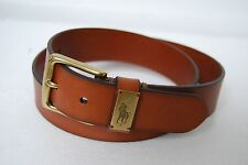 NWT POLO RALPH LAUREN TAN BROWN BRASS BIG PONY STAMPED  BELT