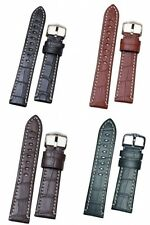 Hirsch 'Knight'  Top Quality Alligator Grain Thick Leather Watch Strap