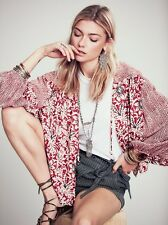 FREE PEOPLE NWT Boho $128 Printed Balloon Sleeve Soft Jacket Kimono Cardigan S M