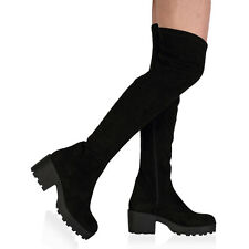 31I WOMENS BLACK FAUX SUEDE LADIES CHUNKY MID HEEL OVER THE KNEE BOOTS SIZE 3-8