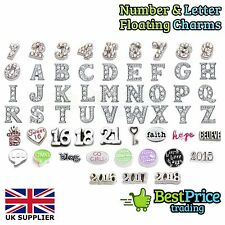 NUMBERS LETTERS AGE WORDS CHARMS Living Memory Floating Charm Costume Jewellery