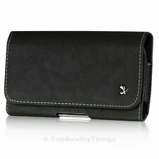 Luxmo #8 Black Horizontal Leather Pouch Holster Swivel Belt Clip Carrying Case