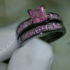 Nice Princess Cut Pink Sapphire 10KT Black Gold Filled Wedding Ring set Sz 5-11