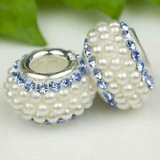 Gorgeous Pearls & Blue Crystals 925 Sterling Silver Bracelet Charm Bead