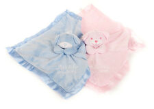 Personalised Embroidered Baby Teddy Comforter Comfort Blanket Pink or Blue