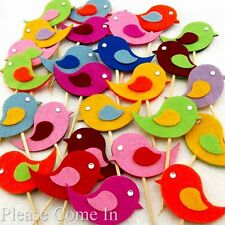 10 Felt Bird Cupcake Topper Cake Decorations / Picks for Birthday Baby Shower