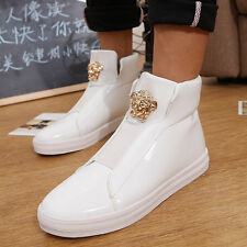 Mens Black High Sneakers Metal DecorTop Hip Hop Casual Fashion England Shoes B30