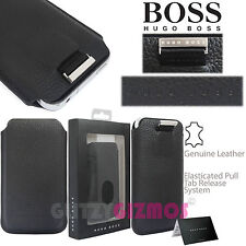 HUGO BOSS DESIGNER LEATHER SOFT SOCK COVER CASE POUCH FOR MOBILE PHONES-PULL TAB