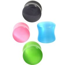 """PAIR - EYE OF A CAT STONE EAR PLUGS POLISHED CABOCHON GAUGES (4 Colors) 2g-5/8"""""""