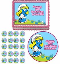 Smurfette The Smurfs Edible Birthday Cake Cupcake Topper Party Decoration Favors
