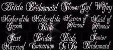 personalised any name iron on transfer hen wedding flowergirl bride sash & more
