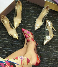 Sexy Womens Pointy Toe Clear High Heel Ladies Pump Party Court Shoes Stilettos