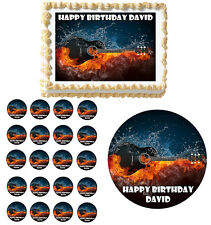 Electric Guitar Rock Fire Edible Birthday Party Cake Cupcake Toppers Decoration