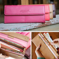New Womens Long Wallet Organizer Purse Clutch Bifold Card Case Bag Candy Color
