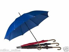 Large Wood Effect Crook Handle Umbrella Brolly Rain Walking Stick Unisex Colour