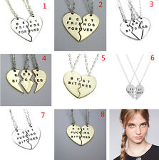Fashion Women Girol Friends Best Bitches Valentine Heart Pendant Chain Necklaces