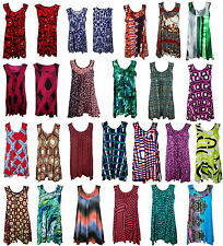 NEW PLUS SIZE LADIES HOLIDAY SLEEVELESS FLORAL MULTICOLOR JERSEY SWING TOP DRESS