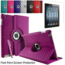 Diamond Piel 360° Giratoria Abatible Tipo Folio Cubierta Funda De Pie Apple &