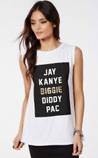 Ladies Celebrity Oversized Slogan JAY KANYE BIGGIE DIDDY PAC Print Top Vest 8-14