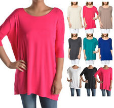 USA Women Dolman Top Half Sleeve Boat Neck Batwing Long Tunic Piko Style Shirt