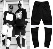 4237 Men's Black Hip Hop Cotton Color blocking Harem Trousers Drop-crotch Pants