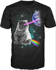 Cat Laser Space Rainbow Galaxy Earth NWT Unisex Adult T-shirt