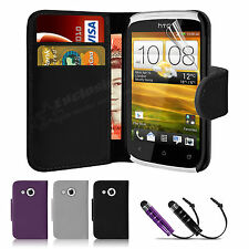 Flip Wallet Leather Case Cover For HTC Desire C Free Screen Protector & Stylus